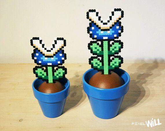 Mario Perler rebordea, planta Piraña, Pixel Art, regalo de Mario, Super Mario, Mario planta, planta azul