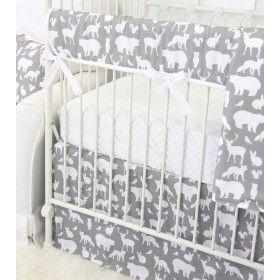Woodland Animals in Gray Crib Bedding Set