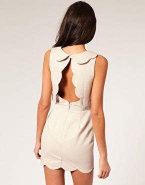 ASOS Pique Chelsea Scalloped Shift Dress - cut out !!