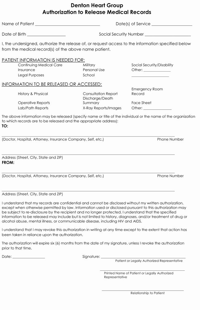 Medical Record Release Form Luxury Medical Records Release Form