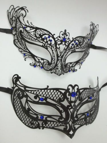 Man Woman Black Blue Masquerade Mardi Gras Masks Male Female Couple Set Metal | eBay