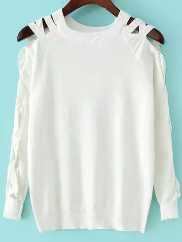 Round Neck Hollow White Sweater 16.33