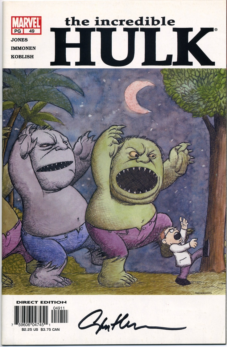 The Incredible Hulk #49, cover is artist Kaare Andrews' homage to Where the Wild Things Are. Signed by interior's artist Stuart Immonen.
