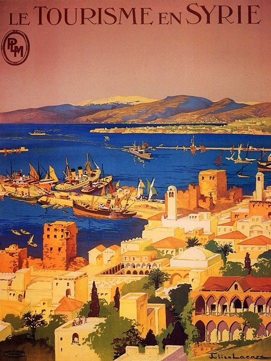 SYRIA TOURISM MEDITERRANEAN SEA STEAMBOAT SAILBOAT TRAVEL VINTAGE POSTER REPRO #Vintage