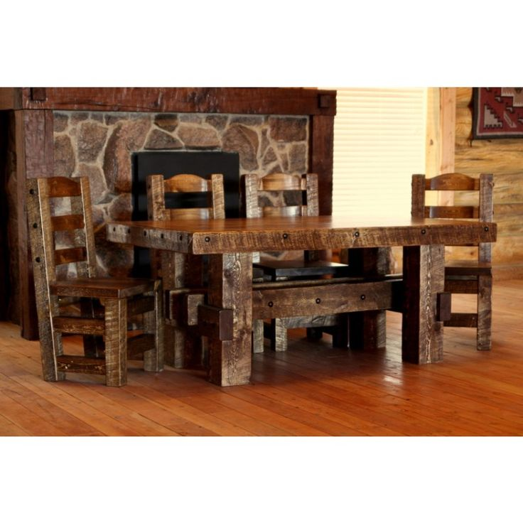 Weathered Wood Rustic Dining Table And Optional Chairs