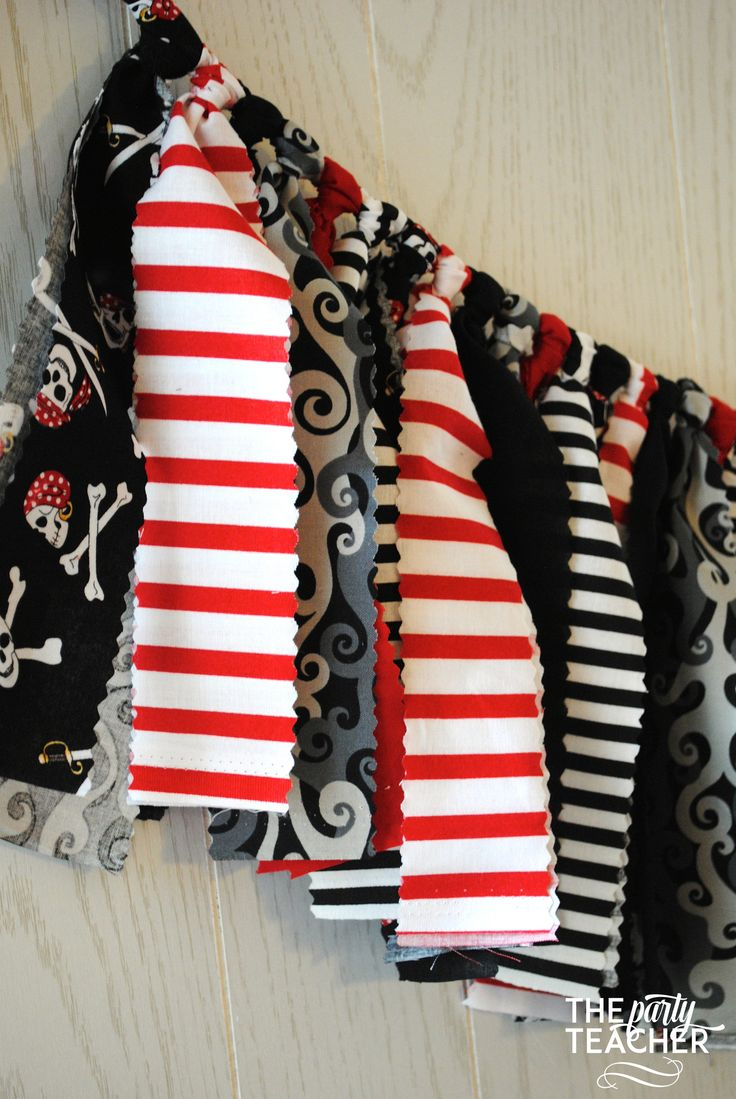 Pirate Party Fabric Tie Garland