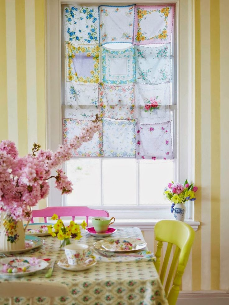 Handkerchief Curtain Panel - made by tacking together the corners of vintage handkerchiefts - Selina Lake