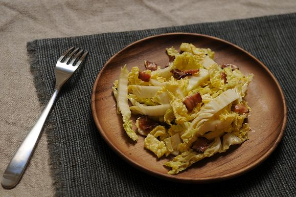 Helen Getz's Napa Cabbage with Hot Bacon Dressing, thinking mustard instead of flour will help the dressing emulsify.