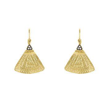 http://rubies.work/0100-ruby-rings/ 14 Karat Yellow Gold Ethnic Triangle Diamond Earrings