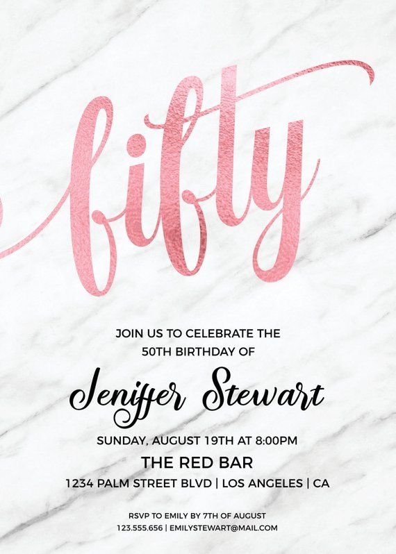 Invitation For 50th Birthday Women Invitations Rose