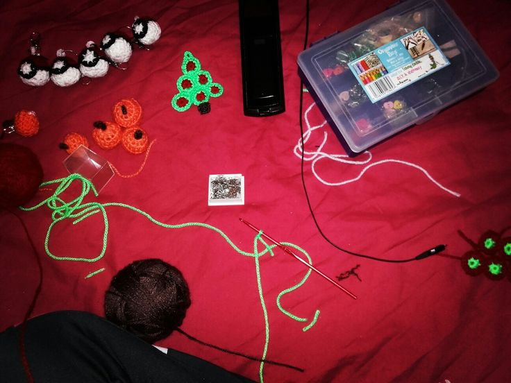 My Sunday night #WorkInProgress #Seasonal #keyrings #Crochet #project #Doppelgangerzone