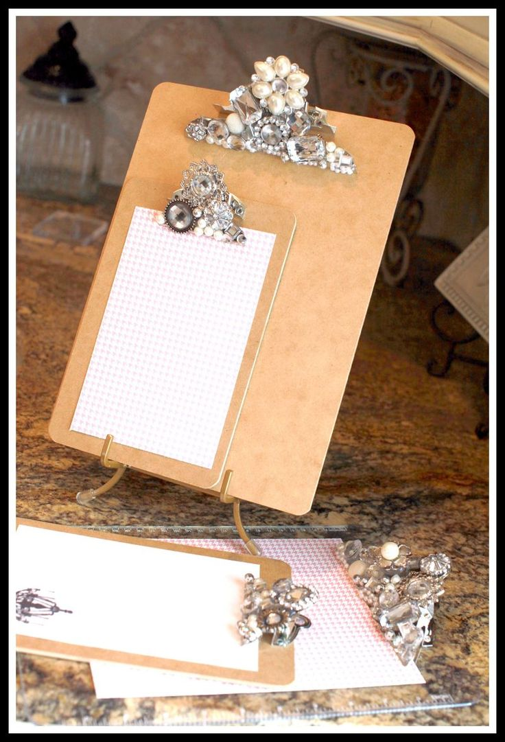 """Fancy clipboard tutorial (I have an aversion to the word """"Bling."""") These would be cute in a group of three or so hung on the wall to clip photos, cards, etc and easily switch them out with the seasons, holidays, etc. #Crafty RePurpose"""