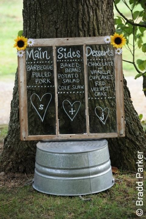 Minus the flowers A Paperless Wedding on itsabrideslife.com/Wedding Signs/Wedding Chalkboard Signs/DIY Wedding Ideas