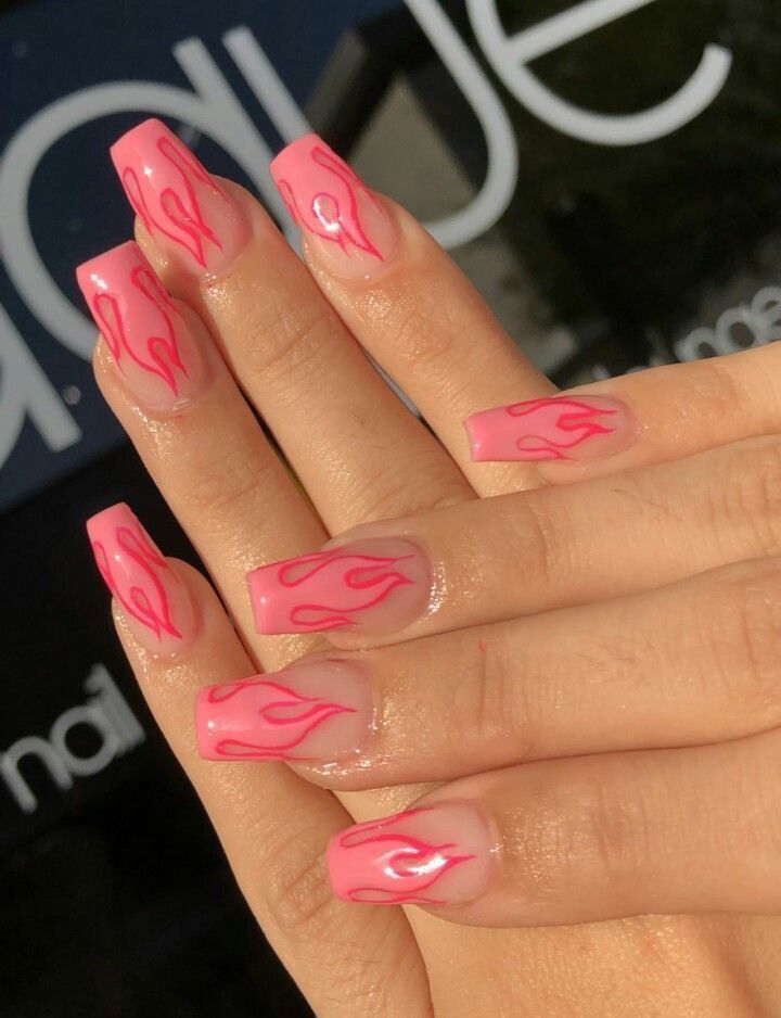 Pink Flames Fire Nails Simple Acrylic Nails Pretty Acrylic Nails
