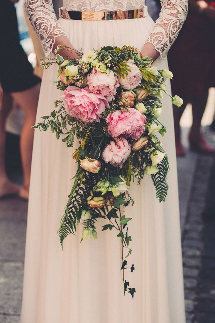 Cascading wedding bouquet. Bridal  bouquet with peonies, roses and ferns.  #bridal #bride #wedding #flowers #peony #fern #palepink #pink