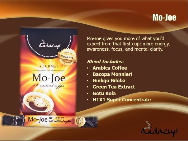 Mo-Joe coffee starts with all-natural Arabica coffee grown deep in Brazil – providing a deep, dark, rich tasting coffee that smells as good as it looks. Infused with our proprietary and unique herbal and nutritional blend. Conveniently packaged in single serving instant sticks so you can get your Mo-jo anyplace… anytime!