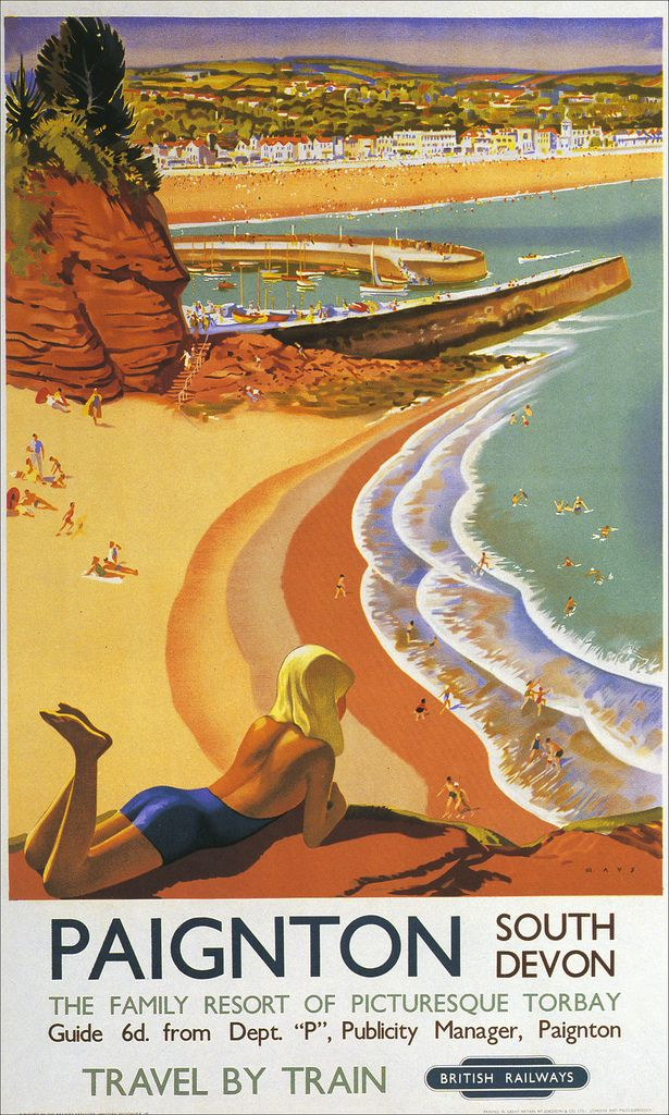 Paignton South Devon -  Travel by Train - British Railways - English Riviera -  beach vintage poster #essenzadiriviera