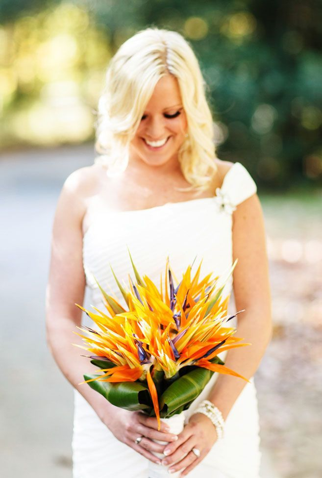 Birds of Paradise's jagged texture is perfect for modern, exotic looking arrangements! {Katie DeLorme Photography}