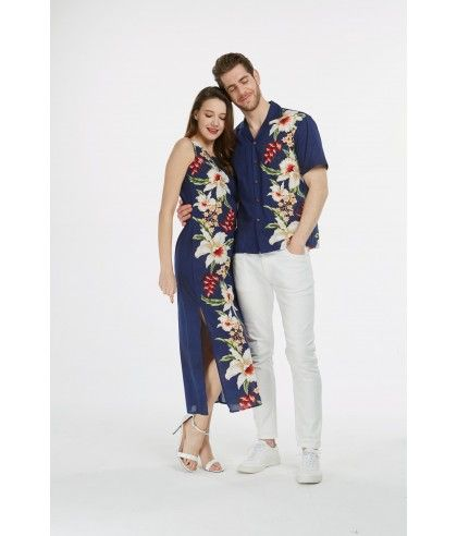 da7349fa Couple Matching Made in Hawaii Men Shirt and Women Maxi Tank Dresses in  Side Floral Navy