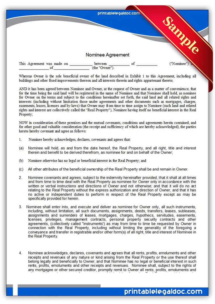 Free Printable Nominee Agreement Legal Forms  Printable Real
