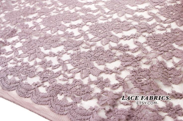 Scalloped Lace Fabric by yard, MAUVE Scalloped Lace Cotton Fabric, Scallop Lace - 1 Yard. $11.00, via Etsy.