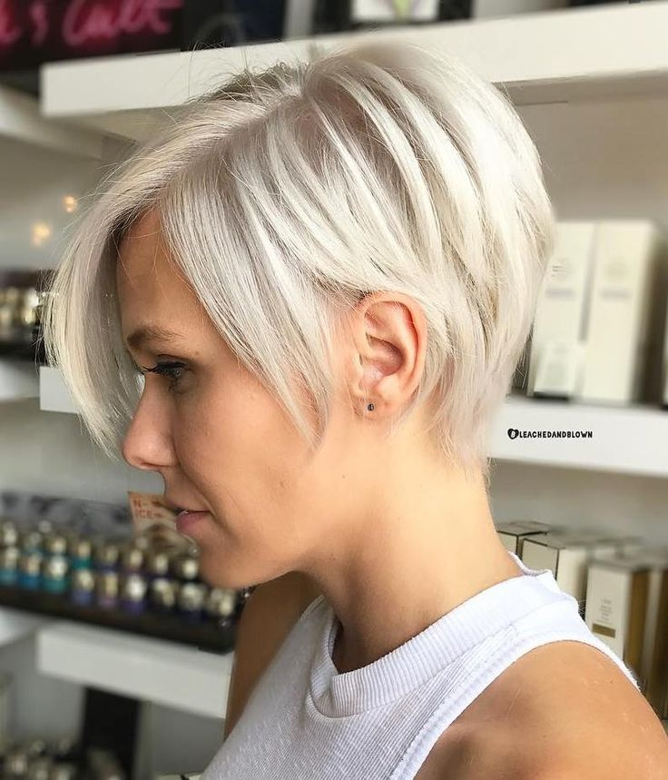 Side Parted White Blonde Pixie Bob