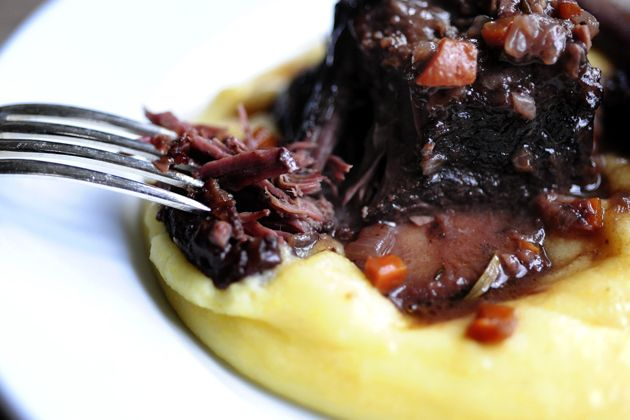 """goat cheese polenta and short ribs - this was pretty good. I was rushed so I wasn't able to skim the fat. I will be sure to do that next time so it isn't so """"rich."""""""