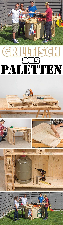 Sie können selbst einen großen Grilltisch bauen – und dank Paletten als Basis dafür