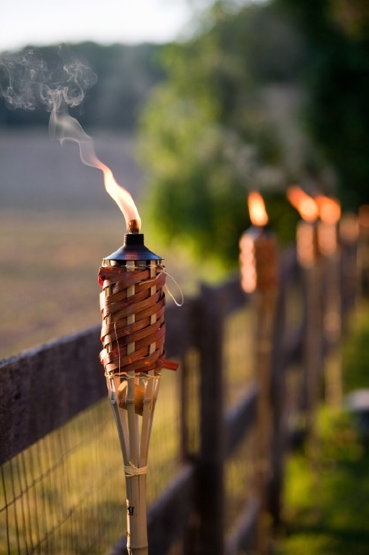 Tiki torches - to place around the fire and hay bale seats to keep the bugs away
