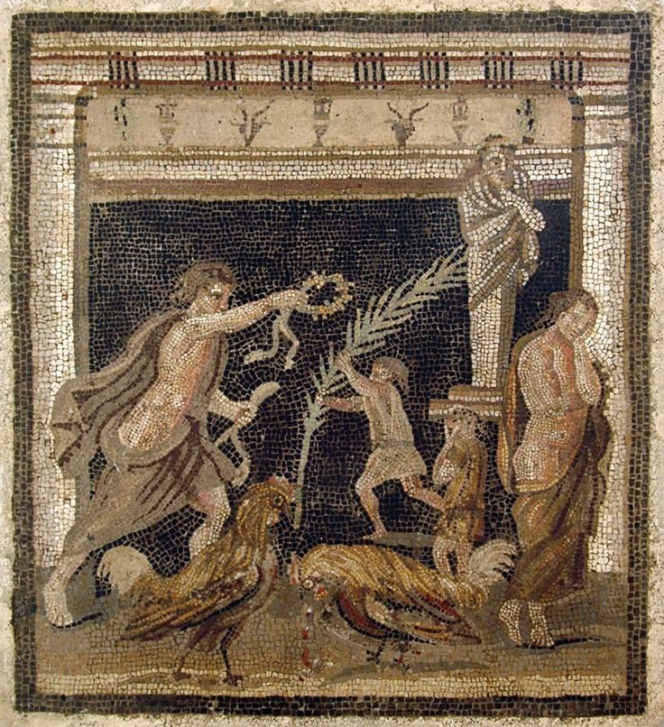 Cock-fight between the personifications of victory and defeat. Mosaic from Pompeii (House of the Labyrinth, VI 11, 10, cubiculum). Naples, National Archaeological Museum.