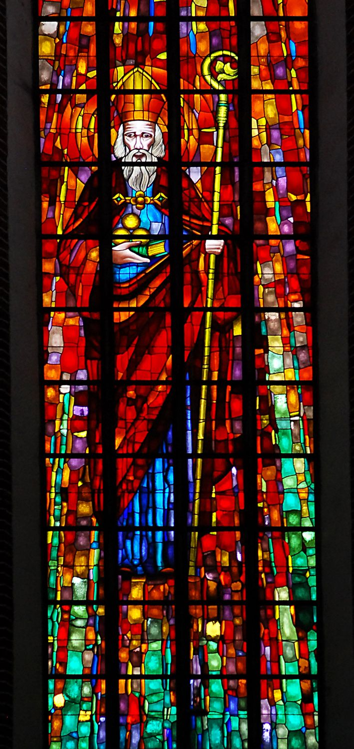 St. Nicolas, stained glass, town of Nysa, Poland