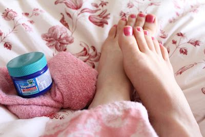 Rub your feet with Vicks Vapor Rub to stop coughing at night.  Place socks on to seal in the Vicks.  Supposedly the pores in the bottom of your feet will absorb the oils more quickly than any other part of your body. (hmmm...i've heard this before but haven't tried it. will give it a try and see...)