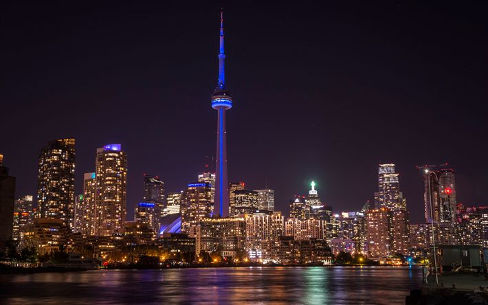 Download wallpapers Toronto, 4K, CN Tower, skyscrapers, night, cityscape, city lights, Canada, television tower