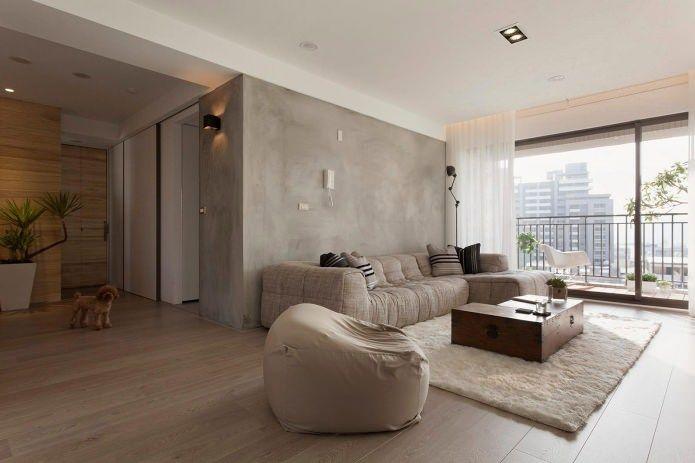 бетонные стены в интерьере гостиной комнаты