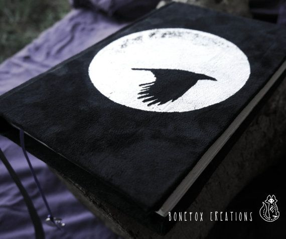 Crow book diary journal Spell book book of shadows by BoneFox