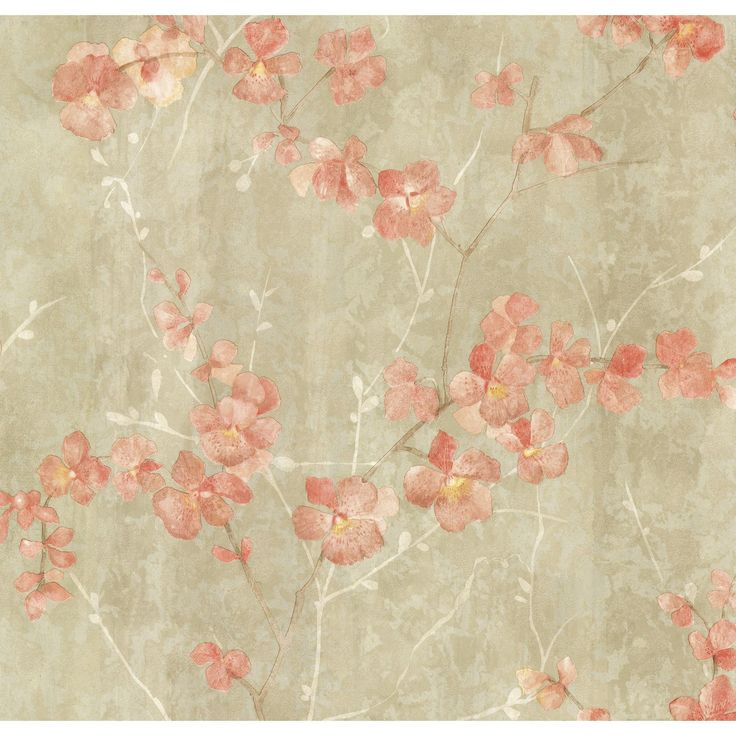 "Kitchen & Bath Resource III Chapman Cherry Blossom Trail 33' x 20.5"" Floral 3D Embossed Wallpaper"