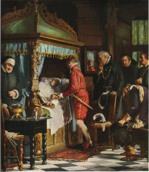At the death bed of Niels Kaas. The 17-year old Christian IV receives from the dying chancellor the keys to the vault where the royal crown and sceptre are stored. History painting by Otto Bache, 1880.
