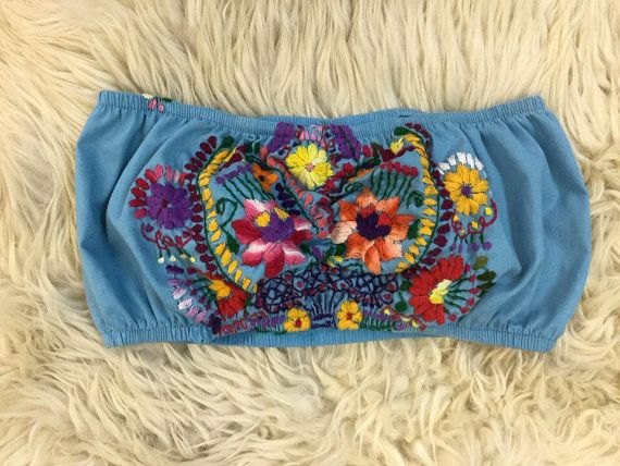 Recon embroidered festival bandeau top by TimeWarpBR on Etsy