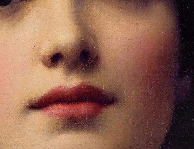 Details of John William Godward's:Eurypyle (1921) + lipstick edit - Contemplation (1903)