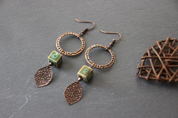 Boucles d'oreilles style ethnique chic boucles céramique