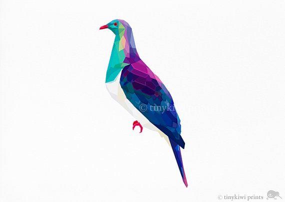 Wood Pigeon Native NZ Kereru Geometric print by tinykiwiprints