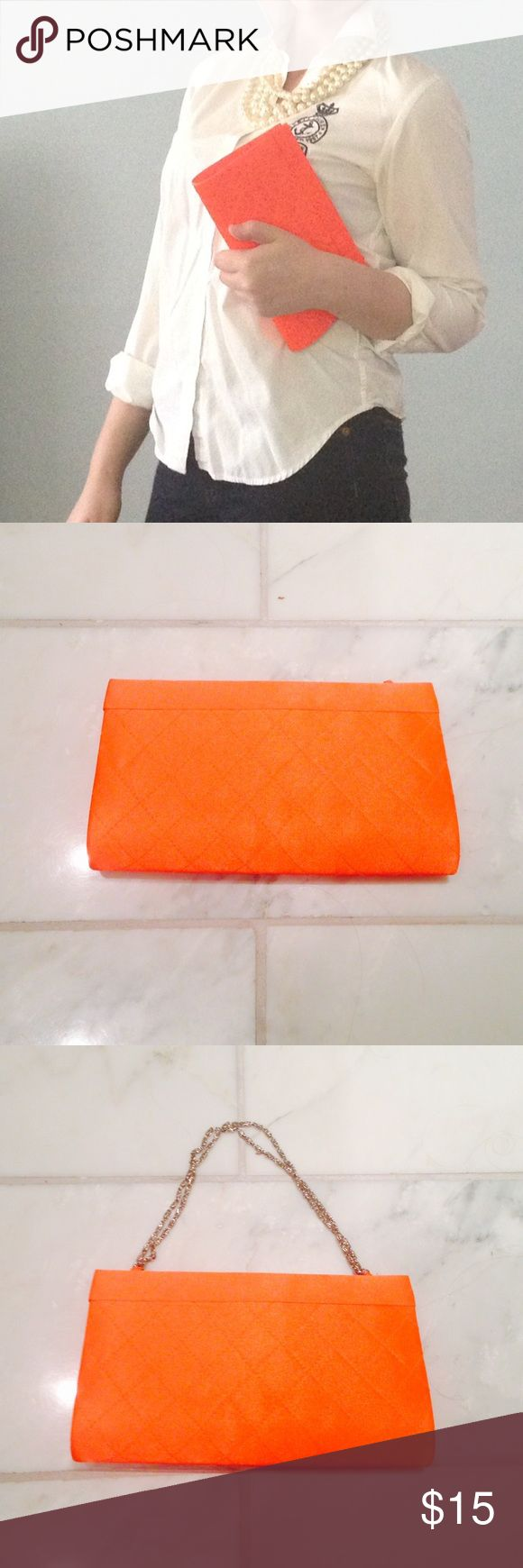 New without tag Orange Clutch New without tag, beautiful bright orange clutch. This comes with a chain that can be used or hidden away in purse. Perfect pop of color to any outfit. Looks just like a Chanel! (First picture is simply inspiration- not actual bag) Bags Clutches & Wristlets