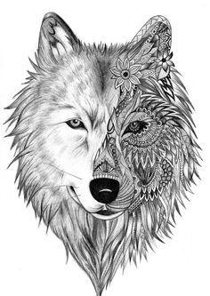 """Résultat de recherche d'images pour """"coloriage loup mandala"""""""