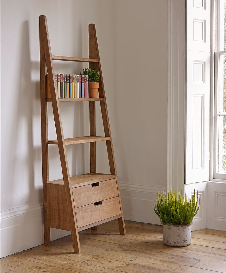 Solid Wood Ladder Book Shelf Come With Two Storage Drawers And Also Four Tier On White Painted Wall Along Modern Style