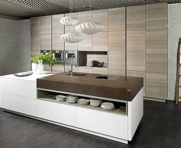 Stylish modern kitchen with trendy island