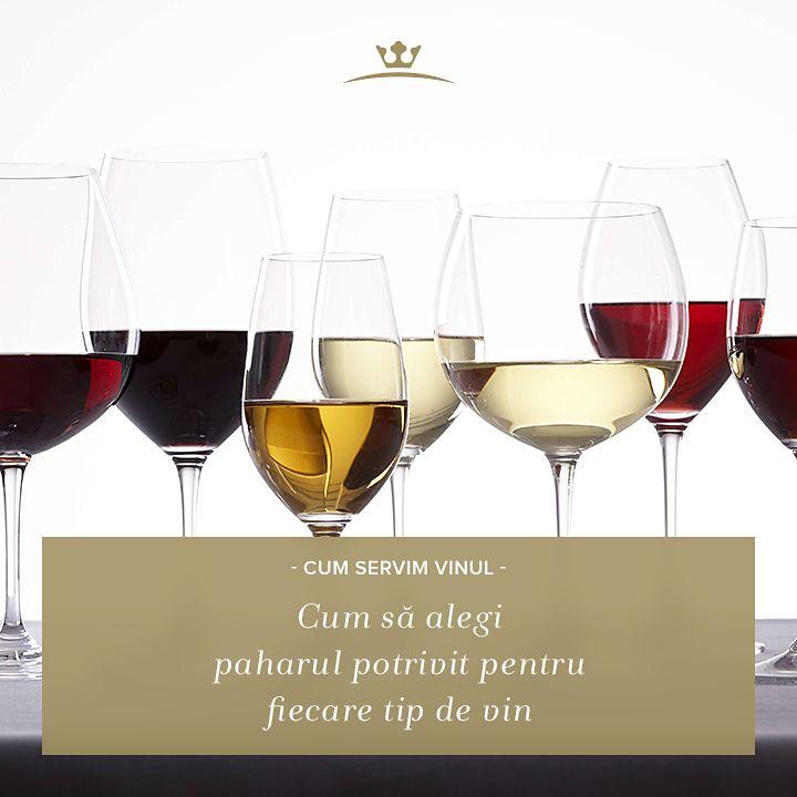 Ca să te poți bucura deplin de savoarea vinului, trebuie să-l servești din paharul adecvat: vinul roșu se servește în pahare cu bol mare și deschidere largă, în timp ce vinurile albe se beau din pahare mai înalte, cu bol mic și deschidere mică.