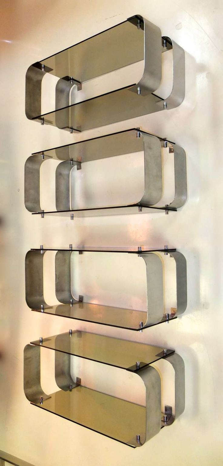Donald Singer; Stainless Steel and Smoked Glass Shelves for the Wheeler House, 1976.