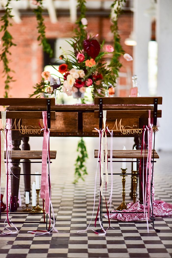 Mr and Mrs wedding chair signs  4LovePolkaDots