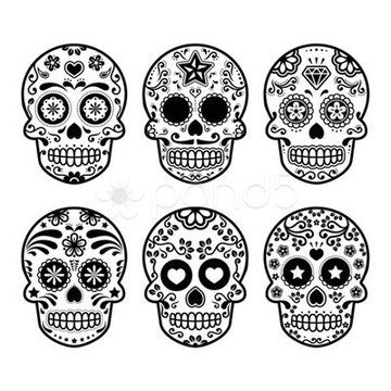 Stock Illustration of Calavera de azúcar mexicana, establecen de Dia de los Muertos iconos