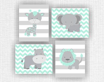 Menta pálido y gris animales de la selva, elefante, jirafa, hipopótamo, León, Chevron, habitación de bebé de animales pared arte Set de 4, 8 x 10, descargar instantánea